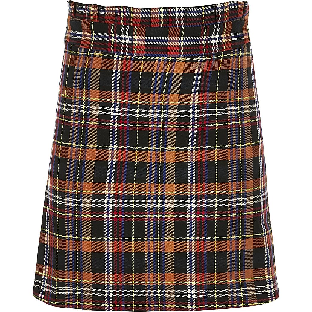 Girls brown check paperbag skirt