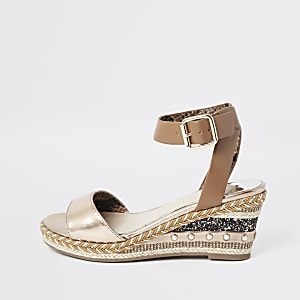 Girls brown embellished espadrille wedge