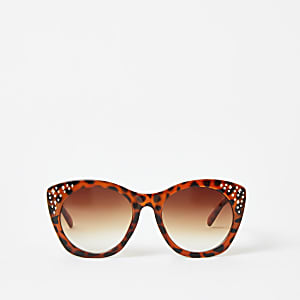 Girls brown embellished glam sunglasses