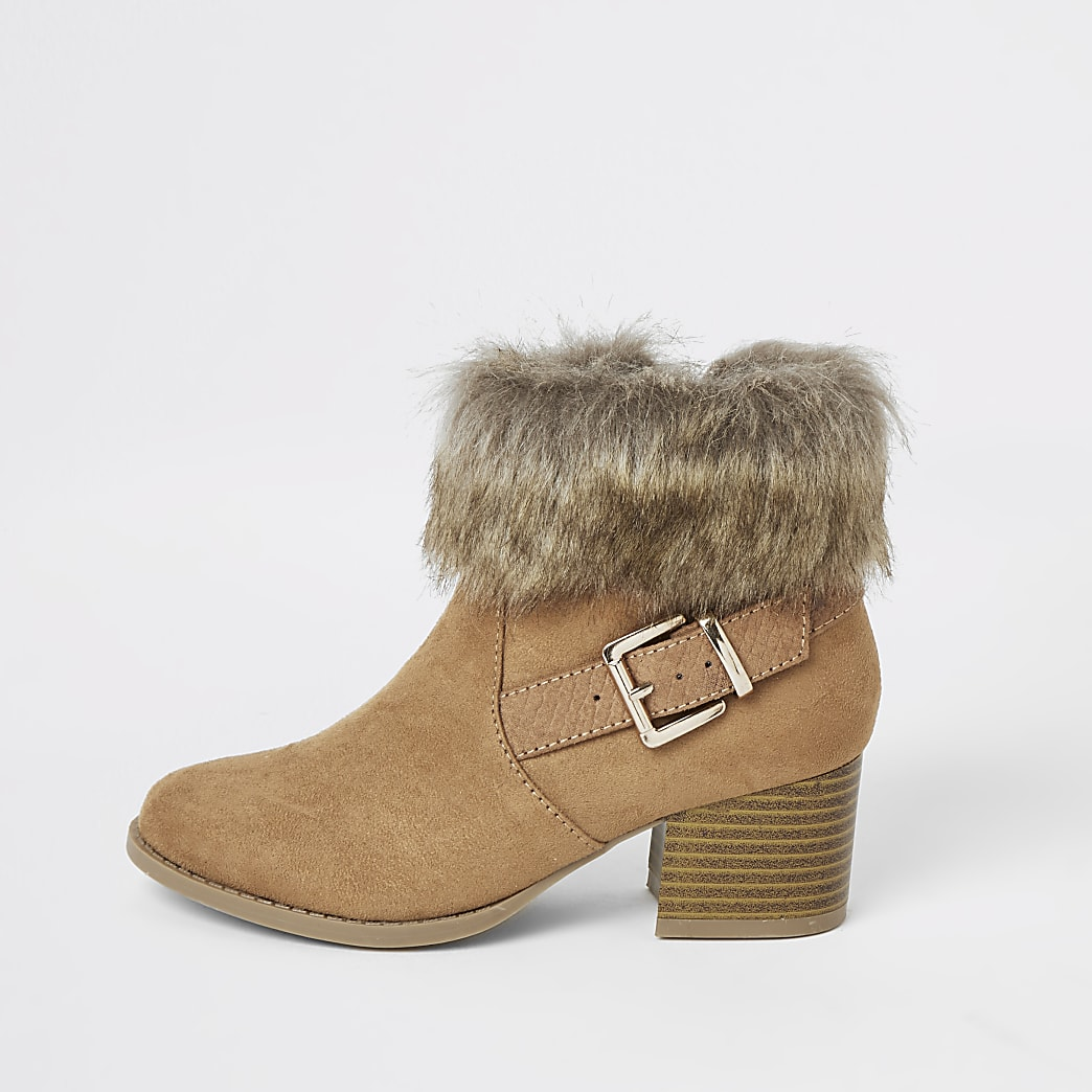 Girls brown faux fur heeled buckle boot