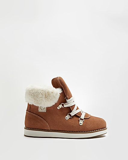 Girls brown faux fur lace up boots