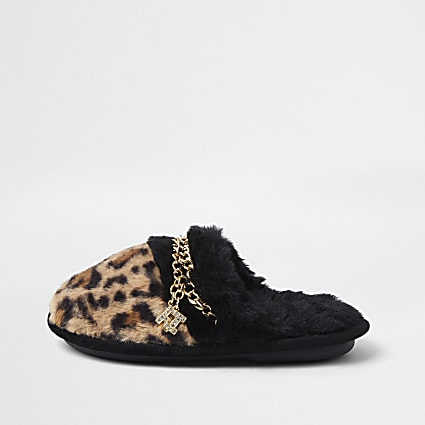 Girls brown faux fur leopard chain slippers