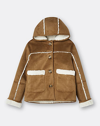 Girls brown faux fur shearling coat