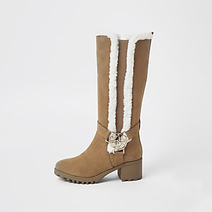 Girls brown faux fur trim boots