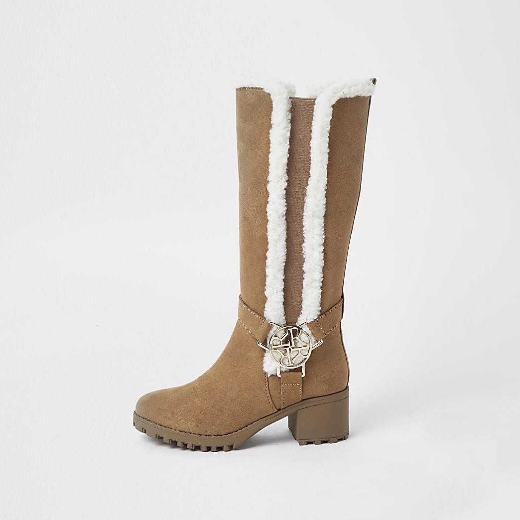 Girls brown faux fur trim boots