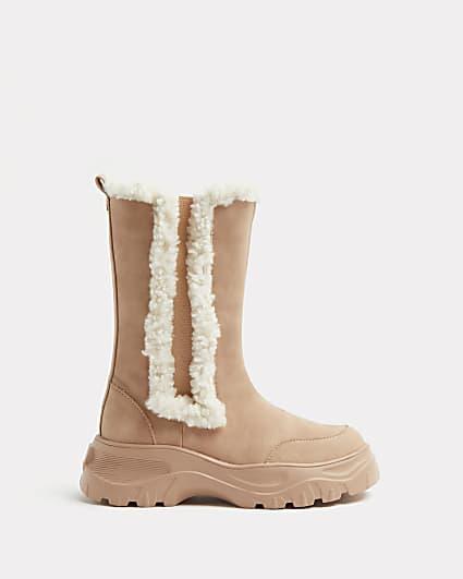 Girls brown faux fur trim chelsea boots