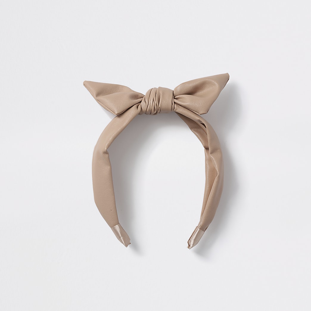 Girls brown faux leather bow headband