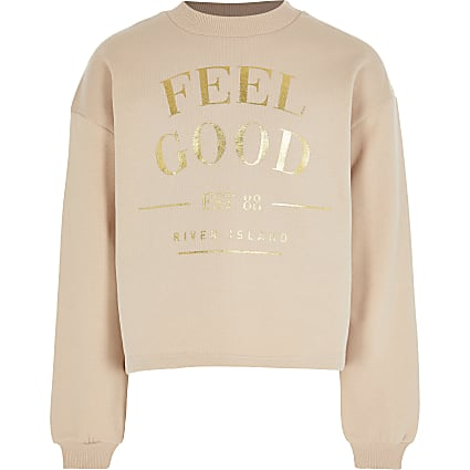 Girls brown 'Feel Good' print sweatshirt