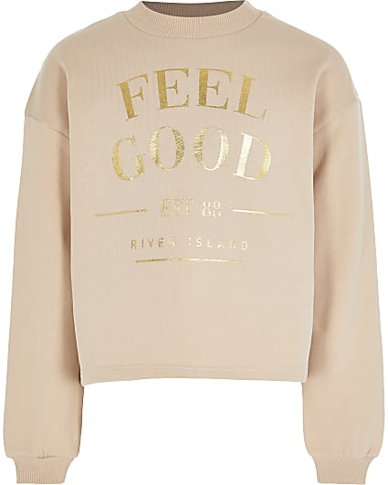 Girls brown 'Feel Good' print sweatshirt