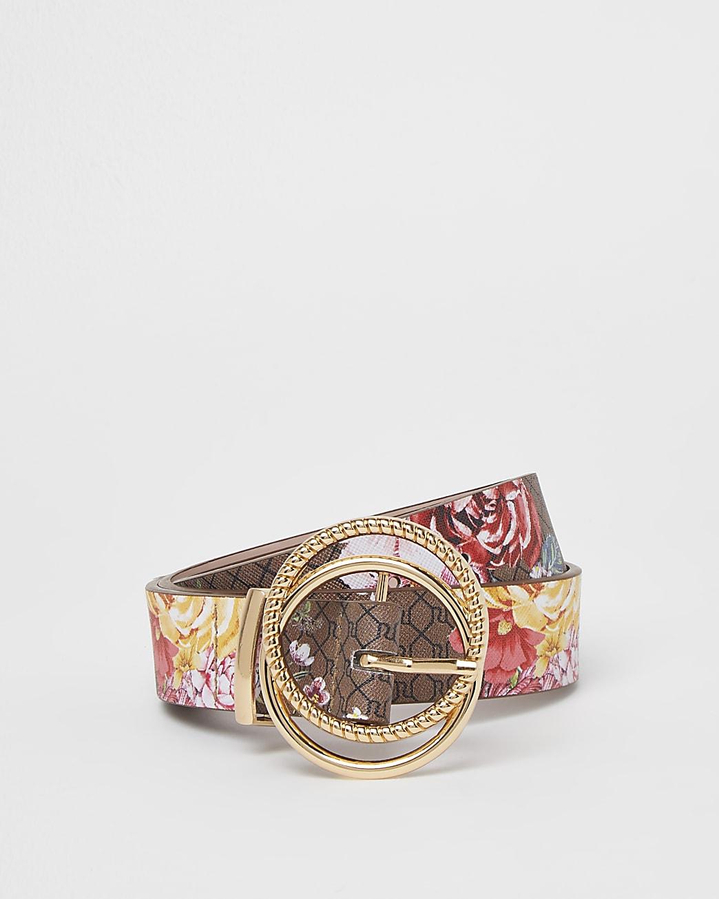 Girls brown floral RI monogram belt
