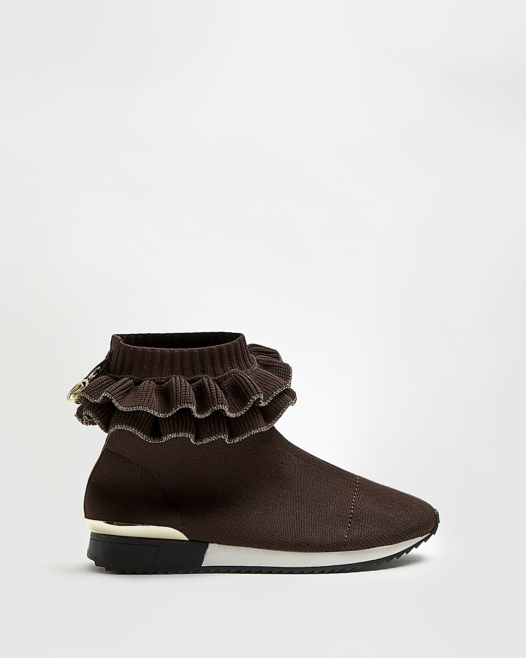 Girls brown frill knit high top trainers