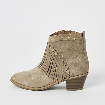 Girls brown fringe western ankle boots