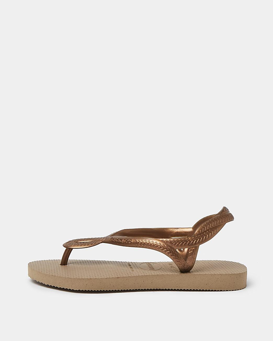 Girls brown Havaianas strap slippers