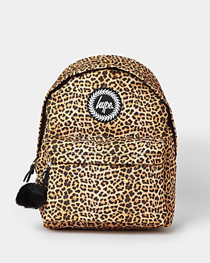 Girls brown Hype leopard print backpack