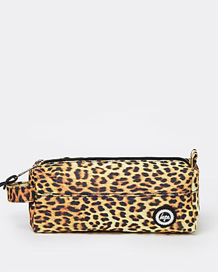 Girls brown Hype leopard print pencil case