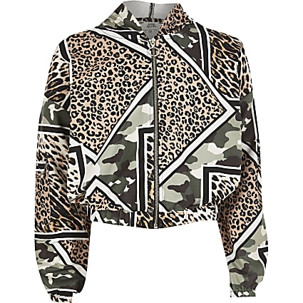 Girls brown leopard camo mix print jacket