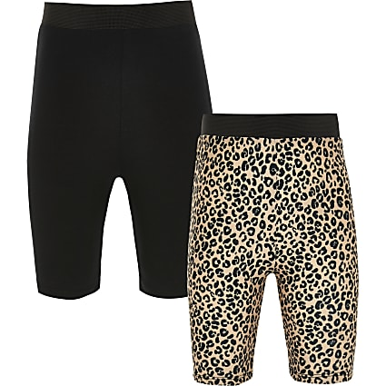 Girls brown leopard cycling short 2 pack