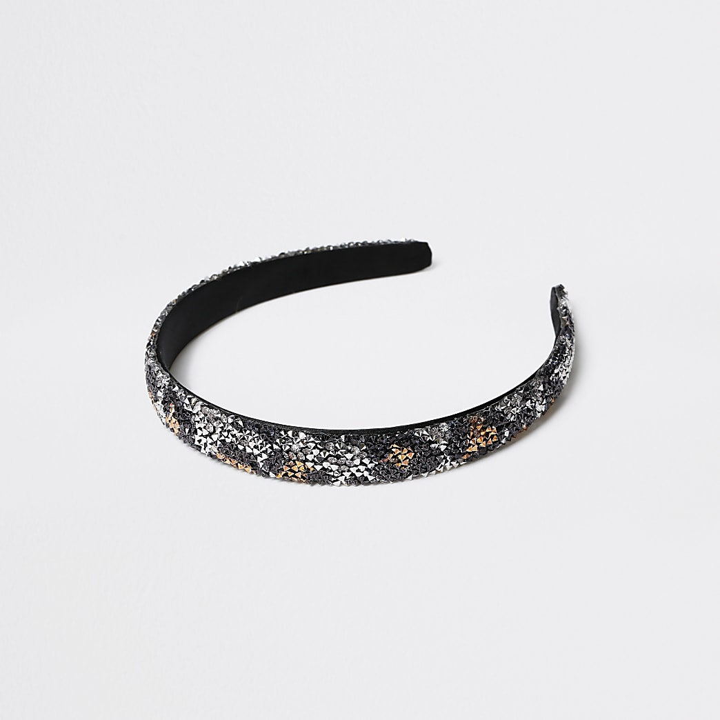 Girls brown leopard diamante headband