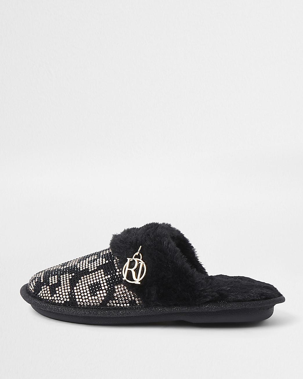 Girls brown leopard heat seal slippers