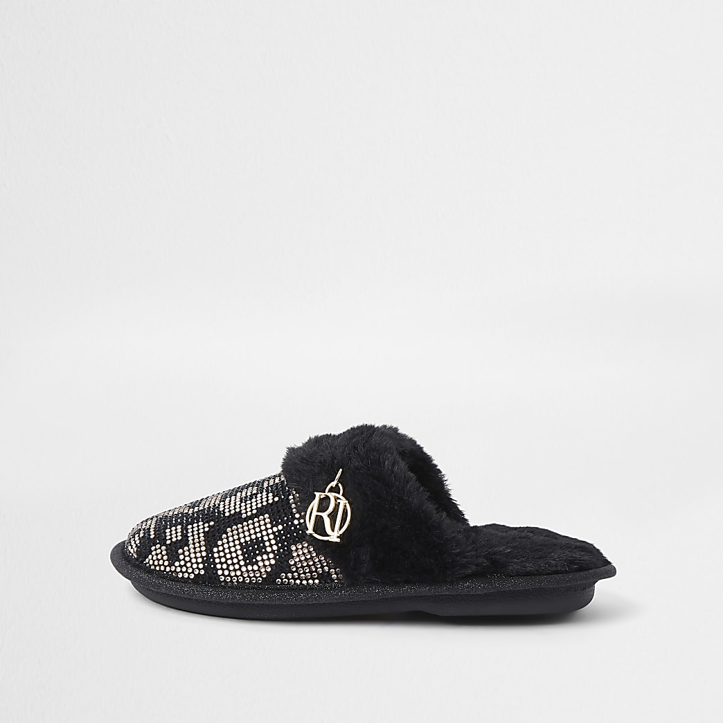 Girls brown leopard heat seal slippers