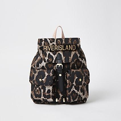 Girls brown leopard print backpack