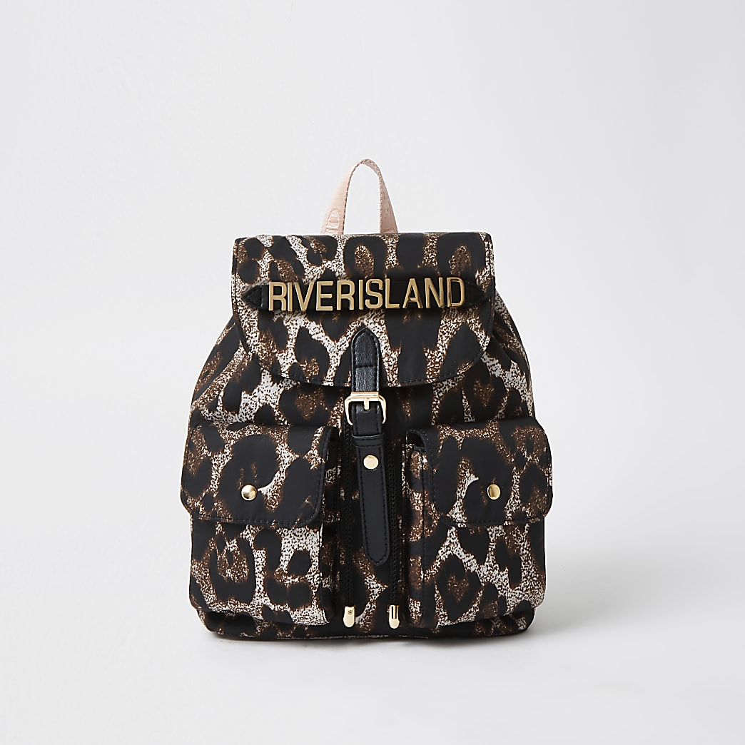 Girls brown leopard print backpack