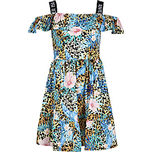 Girls brown leopard print bardot dress