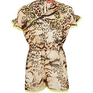 Bruine strandplaysuit met luipaardprint voor meisjes