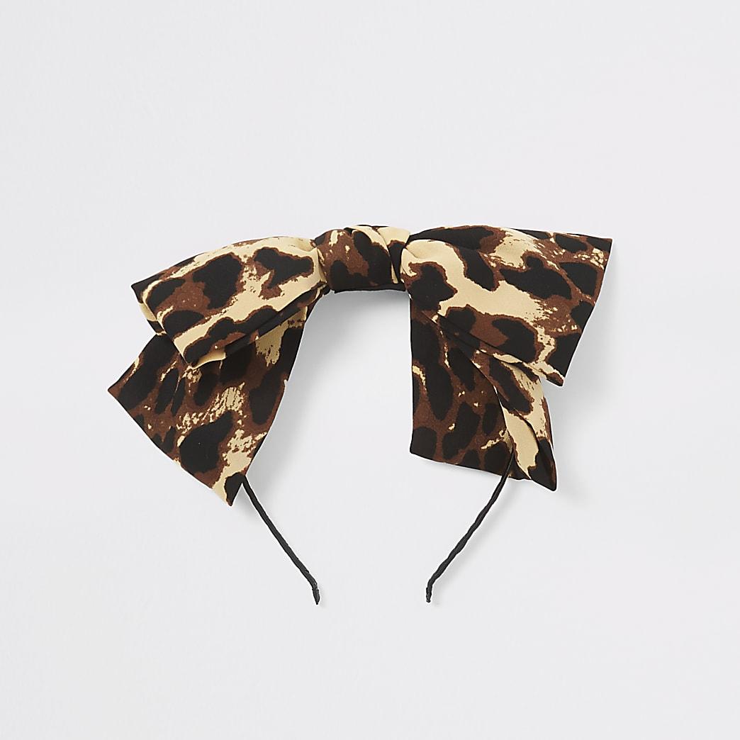 Girls brown leopard print bow headband