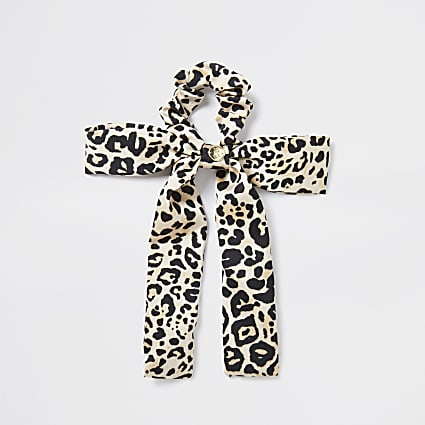 Girls brown leopard print bow scrunchie
