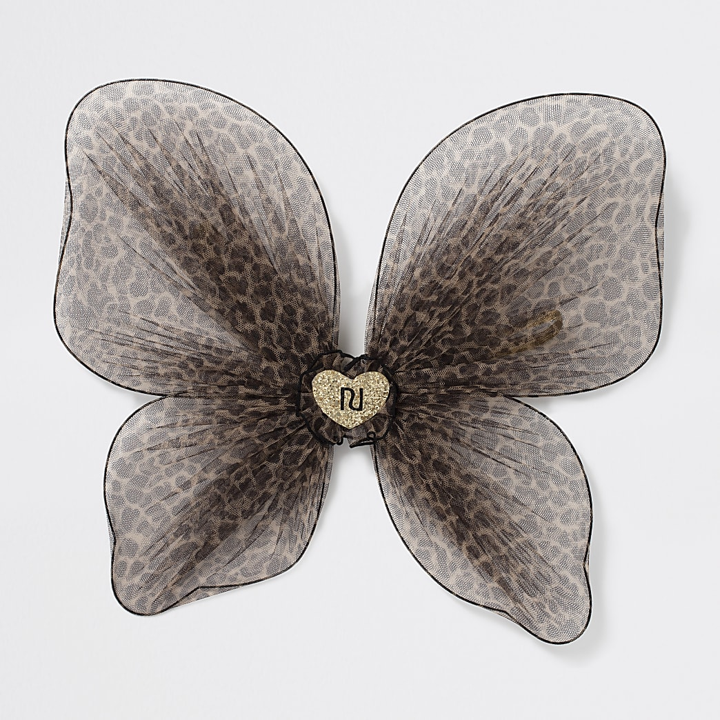 Girls brown leopard print butterfly wings