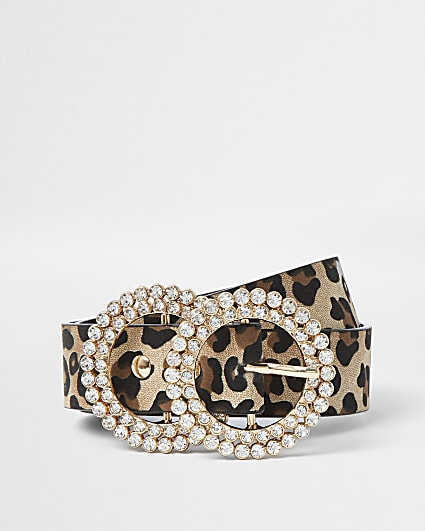 Girls brown leopard print diamante belt