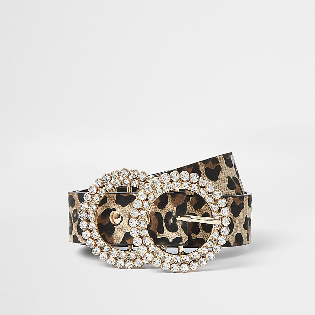 Girls brown leopard print diamante belt