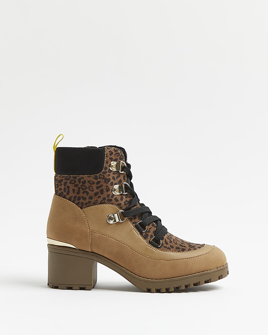 Girls brown leopard print hiker ankle boots
