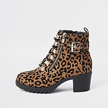 Girls brown leopard print hiker heeled boots