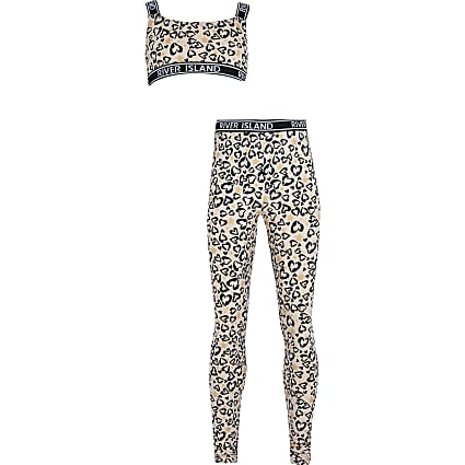 Girls brown leopard print legging set