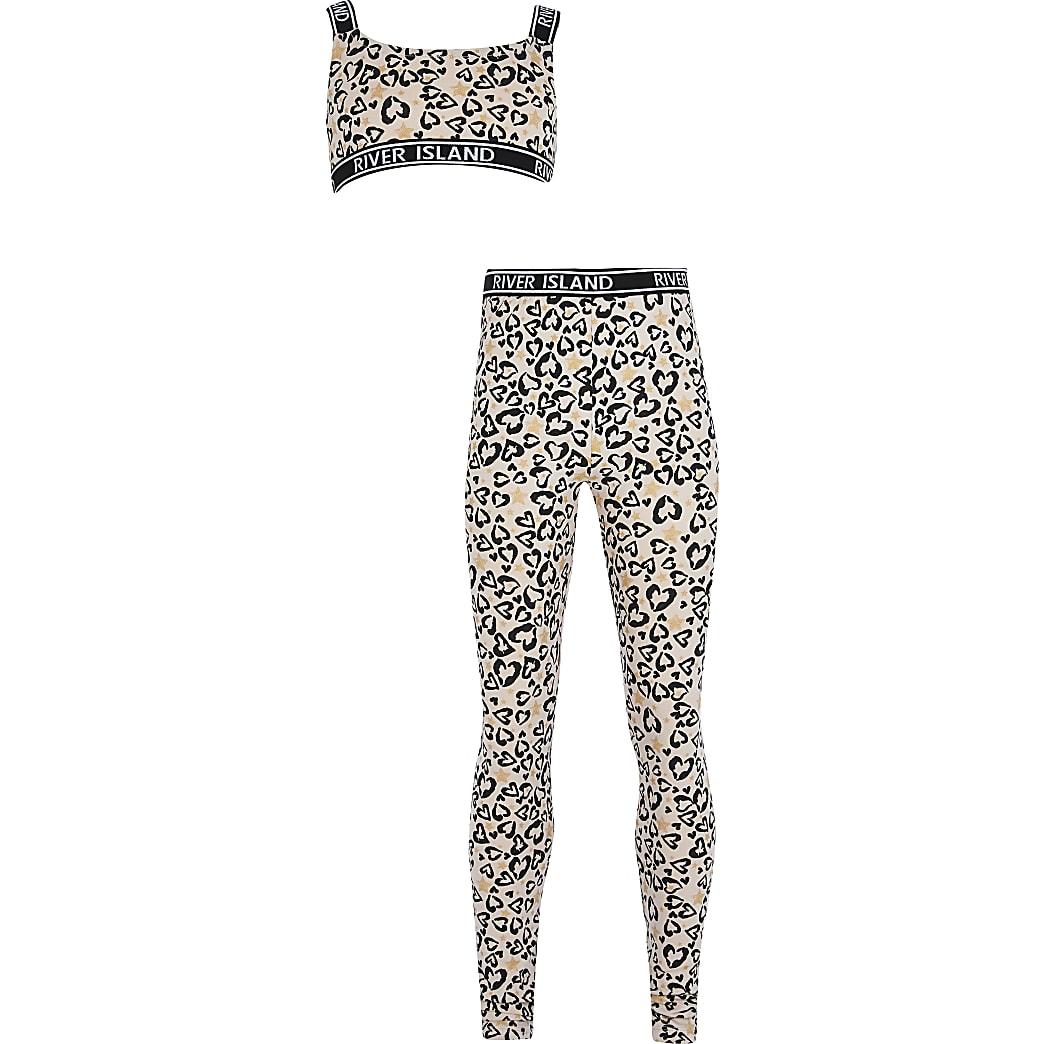 Girls brown leopard print legging set