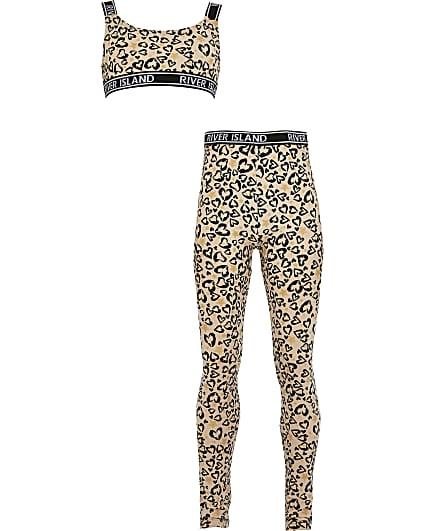 Girls brown leopard print loungewear set