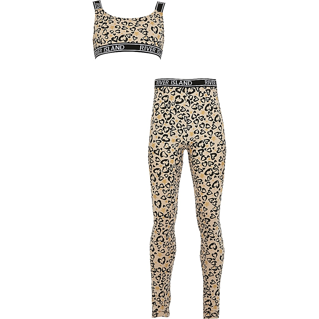 Girls brown leopard print loungewear set