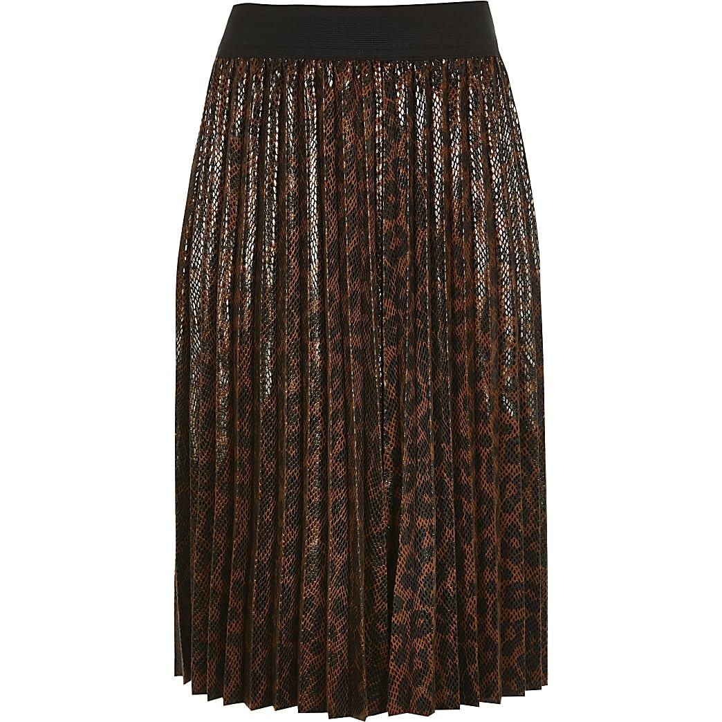 Girls brown leopard print pleated midi skirt