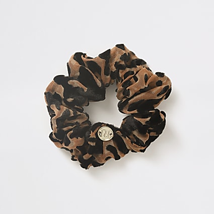 Girls brown leopard print scrunchie