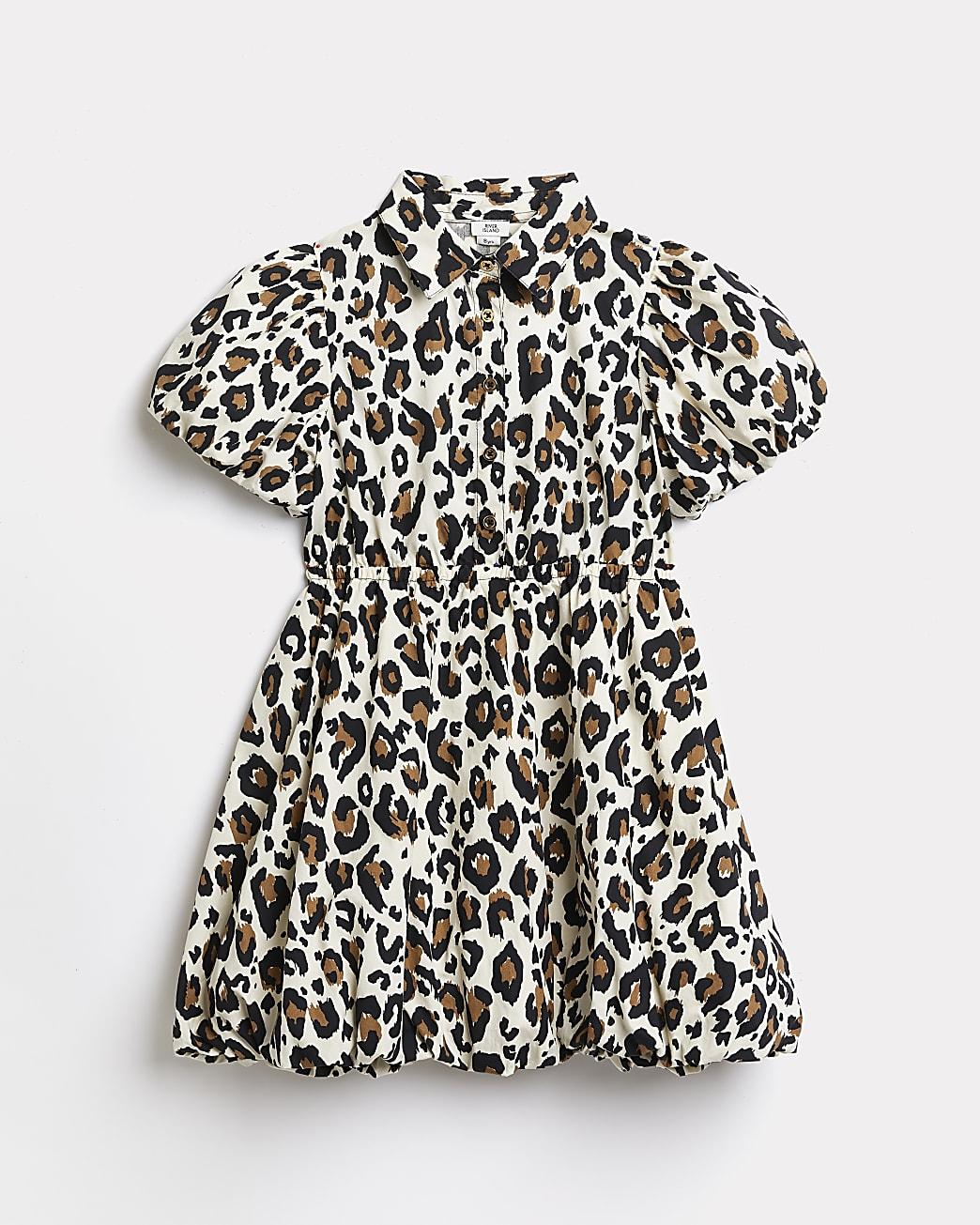 Girls brown leopard print shirt dress