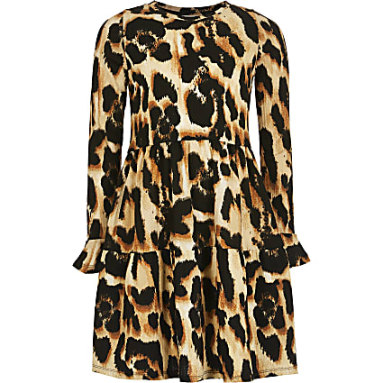 Girls brown leopard print smock dress