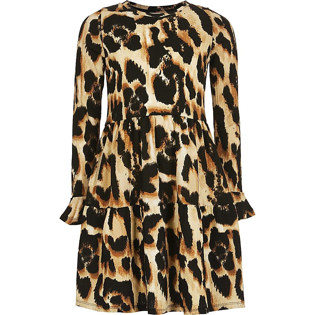 Girls brown leopard print smock dress
