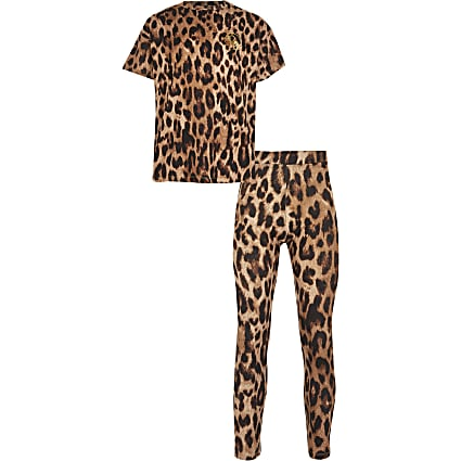 Girls brown leopard print t-shirt outfit