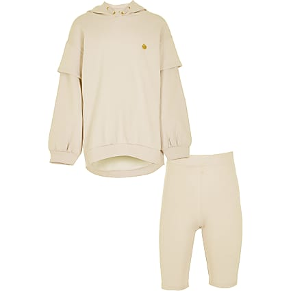 Girls brown long line sweat short set