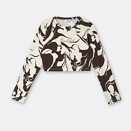 Girls brown marble print ribbed top
