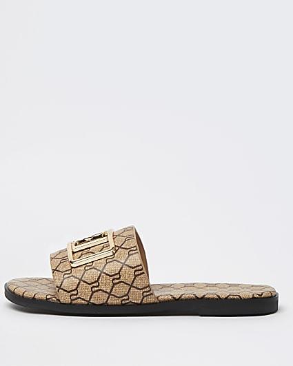 Girls brown monogram city sandal