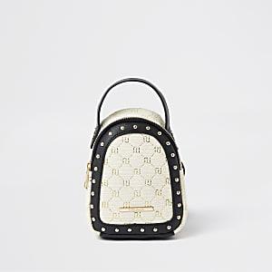 Girls brown monogram raffia mini backpack