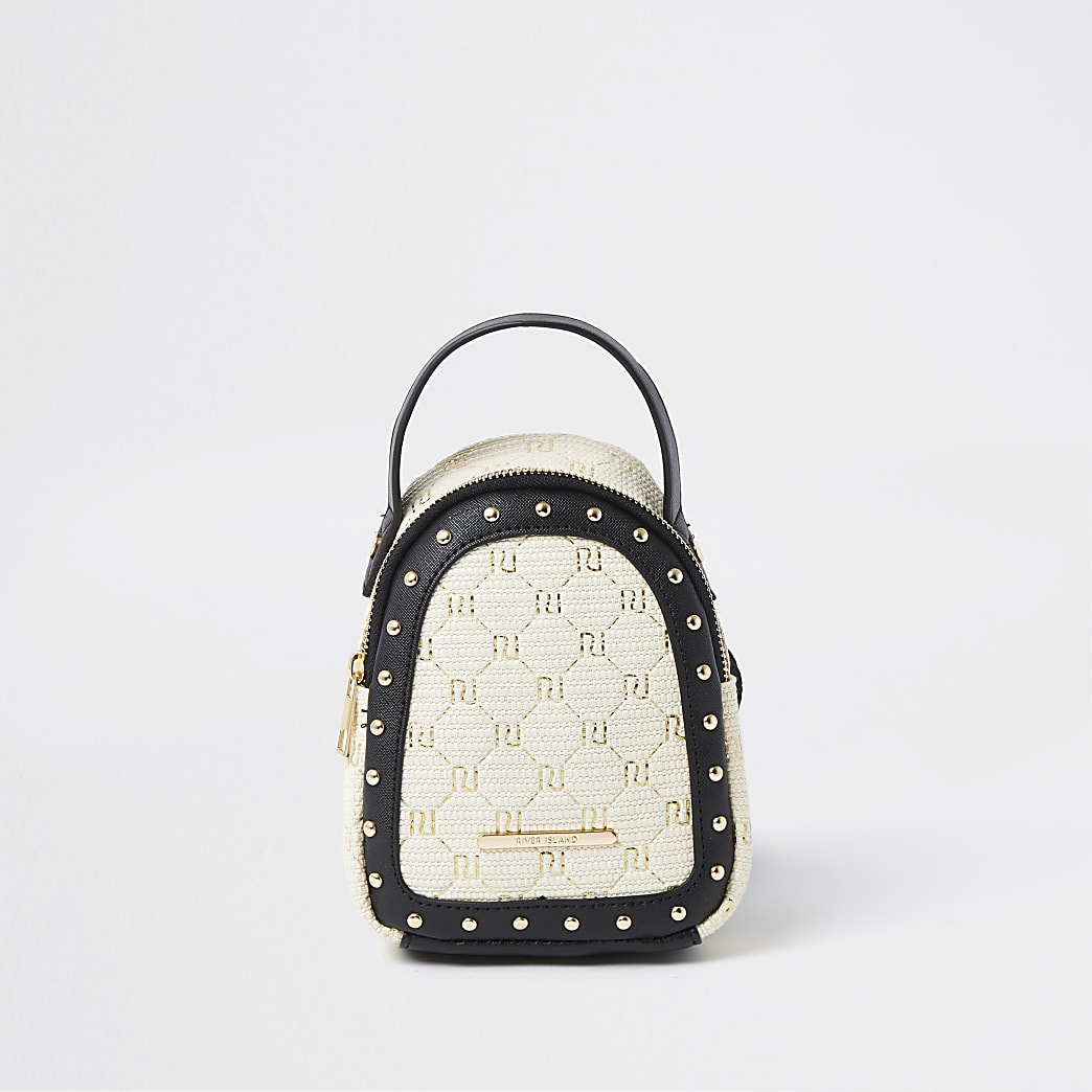 Girls brown monogram raffia mini backpack